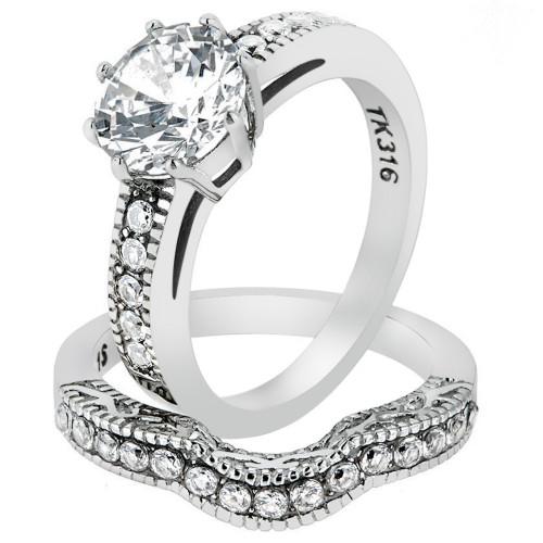 ARTK1W007 Stainless Steel 229 Ct Round Cut Cz Vintage Wedding Ring