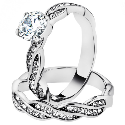 1.78 Ct Round Cut Cz Stainless Steel Twisted Wedding Ring Band Set Women's 5-10