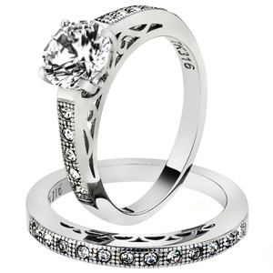 1.39 Ct Round Cut AAA Cz Stainless Steel Wedding Band Ring Set Women's Size 5-10
