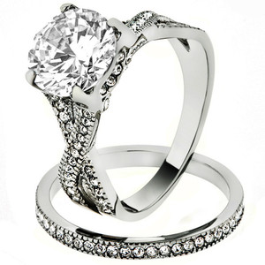 3.3 Ct Round Cut Cz Stainless Steel Wedding & Eternity Ring Set Womens Size 5-10