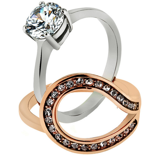 artk2479 stainless steel 16 ct cz rose gold ip 2 piece wedding ring set womens sz 5 10 - 2 Piece Wedding Rings