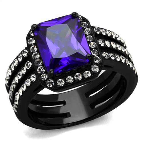4.95 Ct Emerald Cut Amethyst Cz Stainless Steel Engagement Ring Women's Sz 5-10