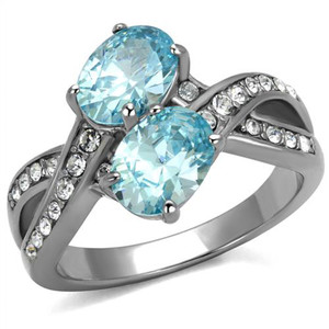 2.78 Ct Oval Cut Sea Blue CZ Stainless Steel Cluster Cocktail Ring Women's 5-10