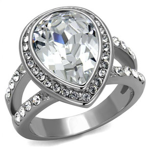6.34 Ct Pear Cut Crystal Stainless Steel Halo Engagement Ring Women's Size 5-10