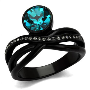 ARTK2488 2.1 Ct Blue Zircon Crystal Black Stainless Steel Engagement Ring Women's Sz 5-10