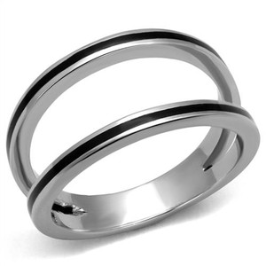 ARTK2499 High Polished Stainless Steel & Jet Black Epoxy Fashion Ring Women's Size 5-10