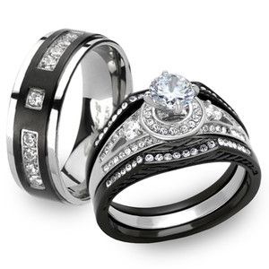 Black & Silver Stainless Steel & Titanium His & Her 4pc Wedding Ring Band Set