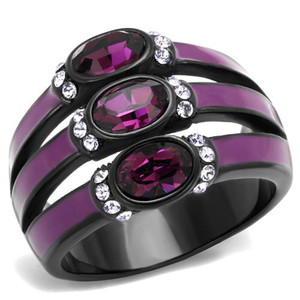 Black & Purple Stainless Steel Amethyst Crystal Fashion Ring Women's Size 5-10