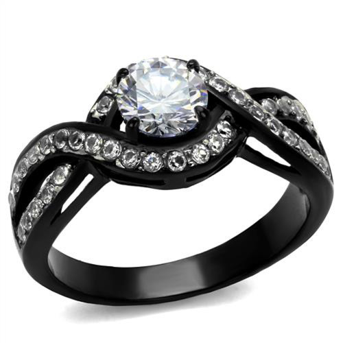 artk2282 stainless steel 165 ct round cut aaa cz black engagement ring womens size 5 10 - Black Wedding Rings For Women