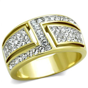 14k Gold Plated Stainless Steel Crystal Cocktail Fashion Ring Women's Size 5-10