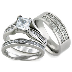 Her & His 3pc Silver Stainless Steel & Titanium Wedding Engagement Ring Band Set