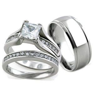 Her & His 3pc Stainless Steel Wedding Engagement Ring & Classic Men's Band Set