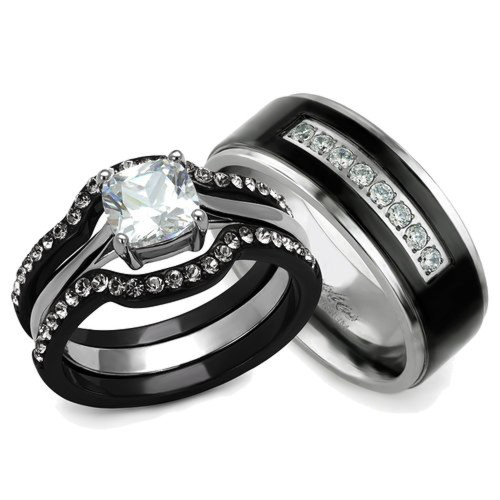 Her & His 4pc Black & Silver Stainless Steel & Titanium Wedding Ring Band Set