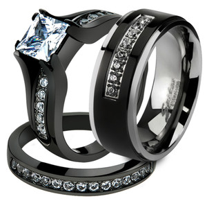 her his 3 pc black stainless steel engagement wedding ring set titanium band