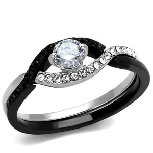 Round Cut Black & Clear CZ Stainless Steel Engagement Ring Women's Size 5-10