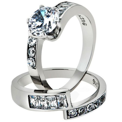 Women's 2.5 Ct Round Brilliant Cut AAA Zirconia Stainless Steel Wedding Ring Set