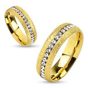 Glittery 14K Gold Ion Plated Stainless Steel Zirconia Wedding Band Ring Sz 5-13