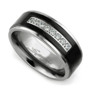 Men's Solid Titanium Black IP Center Cubic Zirconia Comfort Fit Wedding Band