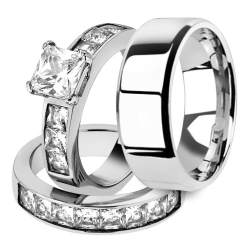 Her & His 3pc Princess Wedding Engagement Ring & Men's Band Stainless Steel Set