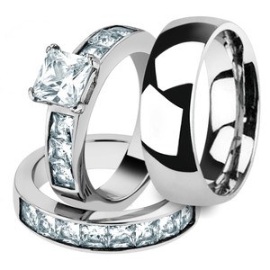Her & His 3pc Stainless Steel Princess Wedding Ring Set & Men's Classic Band