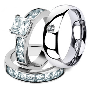 His & Her Stainless Steel 3pc Princess Wedding Ring Set & Men's Classic Band