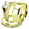 Her & His 14K G.P. Stainless Steel 3pc Wedding Engagement Ring & Men's Band Set