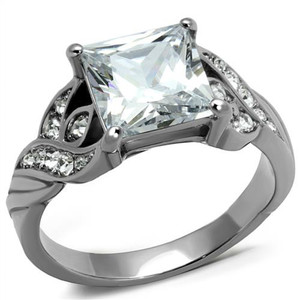 Women's 3.09 Ct Princess Cut Zirconia Stainless Steel Engagement Ring Size 5-10