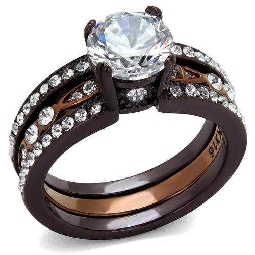 ARTK2560 Chocolate Stainless Steel 275 Ct Round Cut Cz Wedding Ring