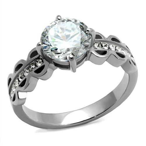 2.11 Ct Round Cut Zirconia Stainless Steel Engagement Ring Women's Size 5-10