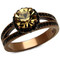 Women's Brown Plated Stainless Steel 3.35Ct Round Smoked Crystal Engagement Ring