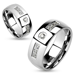 Stainless Steel Comfort Fit Cubic Zirconia Couples Ring Wedding Band Sizes 5-12