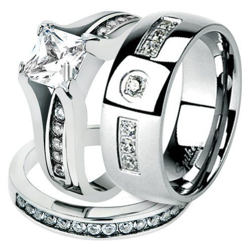His and Hers Stainless Steel Princess Wedding Ring Set and Zirconia Wedding Band