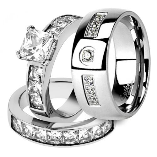 His & Her Stainless Steel 3pc Princess Wedding Ring Set & Men's Wedding Band