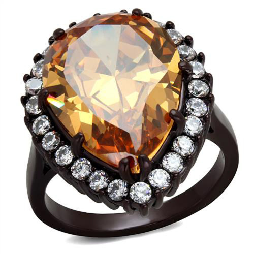 Women's Dark Brown Stainless Steel 10.96 Ct Pear Cut Champagne CZ Cocktail Ring