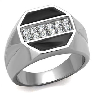 Men's Round Cut Simulated Diamond Crystal Stainless Steel & Epoxy Ring Sz 8-13