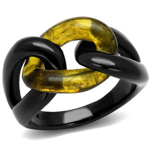 Black Stainless Steel & Topaz Synthetic Stone Link Fashion Ring Women's Sz 5-10