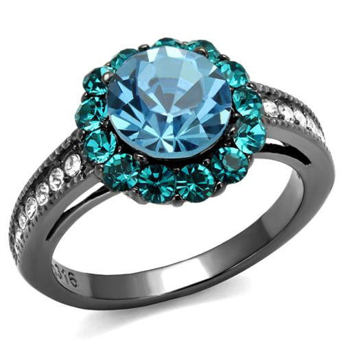Blue zircon wedding rings for women