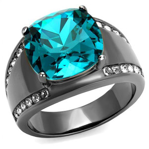 Women's Light Black Stainless Steel 7.2 Ct Blue Zircon Crystal Cocktail Ring