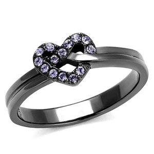 Light Black Stainless Steel & Light Amethyst Crystal Fashion Ring Women's Sz 5-10