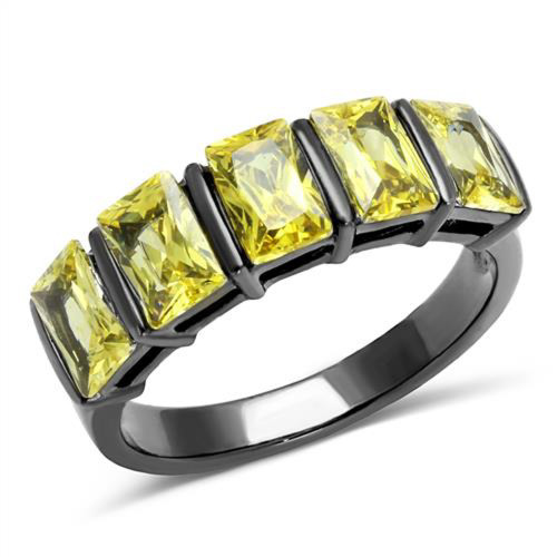 4.4 Ct Emerald Cut Topaz Light Black Stainless Steel Cluster Ring Womens Sz 5-10