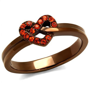 Light Coffee Stainless Steel & Orange Crystal Heart Fashion Ring Womens Sz 5-10