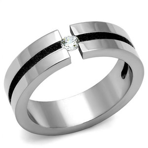 Women's 0.11 Ct Round Cut CZ Stainless Steel Wedding Band Ring Size 6, 7, or 8