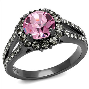 Light Black Stainless Steel 2.87 Ct Light Rose Crystal Halo Engagement Ring