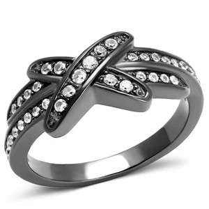 Light Black Stainless Steel AAA Grade Cubic Zirconia Fashion Ring Womens Sz 5-10
