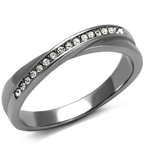 High Polished Stainless Steel Top Grade Crystal Fashion Ring Women's Size 5-10