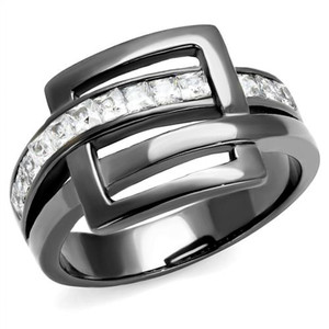 1.04 Ct Princess Cut Light Black Stainless Steel Fashion Ring Women's Size 5-10