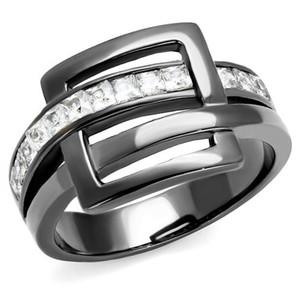 1.04 Ct Princess Cut Light Black Stainless Steel Fashion Ring Women's Size 5-10