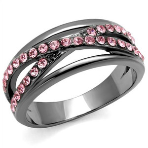 Light Black Stainless Steel & Light Peach Crystal Fashion Ring Women's Size 5-10