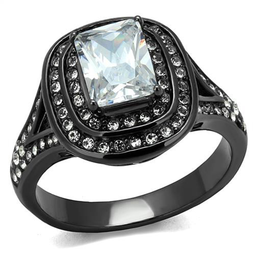 Women's 2.16 Ct Radiant Cut Zirconia Light Black Stainless Steel Engagement Ring