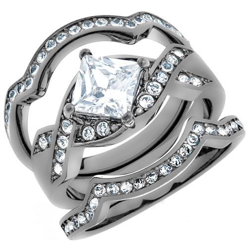 Artk2741 Women S 2 Ct Princess Cut Cz Light Black Stainless Steel Wedding Ring Set
